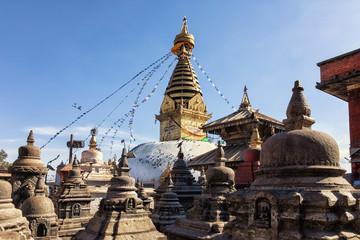 Stupa and Shrines, Swayambhunath, Kathmandu, Nepal