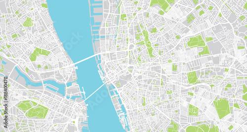 Urban vector city map of Liverpool, England\