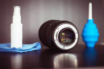 Camera or lense cleaning concept,Top view with copy space