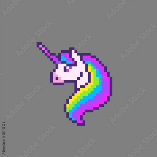 Pixel Art Cute Unicorn Stock Image And Royalty Free Vector