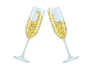 Icon of glasses with champagne and sparkles. Vector illustration