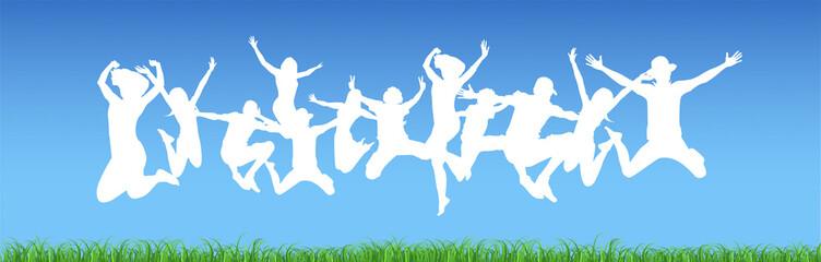 bambino, saltare, cromoterapia, gioco, giocare