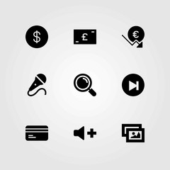 Buttons vector icons set. microphone, mic and volume