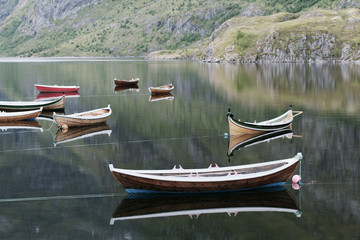 Rowing boats on lake