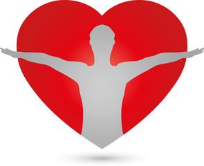 Person und Herz, Mensch, Herz, Gesundheit, Logo