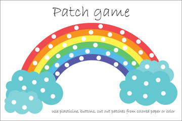 Education Patch game rainbow for children to develop motor skills,  use plasticine patches, buttons, colored paper or color the page, kids preschool activity, printable worksheet, vector illustration