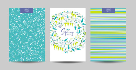 Spring flowers and herbs vector background set