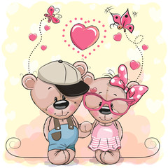 Two Bears on a hearts background
