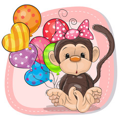 Cute Cartoon Monkey with balloons