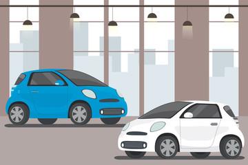 Modern cars in showroom,flat interior,