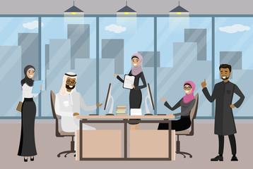 Group of Arab businessmen or office workers in modern office