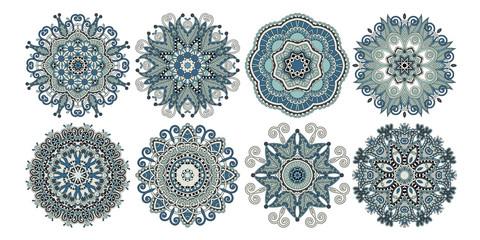 set of decorative circle patterns, ethnic flower paisley design