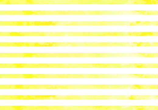 Watercolor yellow stripes. Yellow horizontal lines isolated on white background