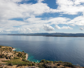 Panoramic view of bays with wild beaches on the shores of the Adriatic Sea on the island of Brac