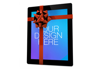 Tablet with Gift Ribbon Mockup 1