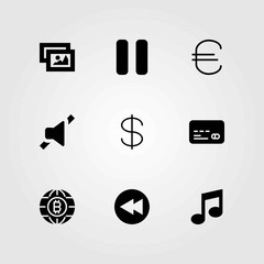 Buttons vector icons set. dollar, musical note and mute