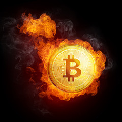 Golden bitcoin coin in fire flame is falling. Burning crypto currency bitcoin cash falling down, blockchain cryptocurrency market crash bubble burst concept. Illustration isolated on black background.