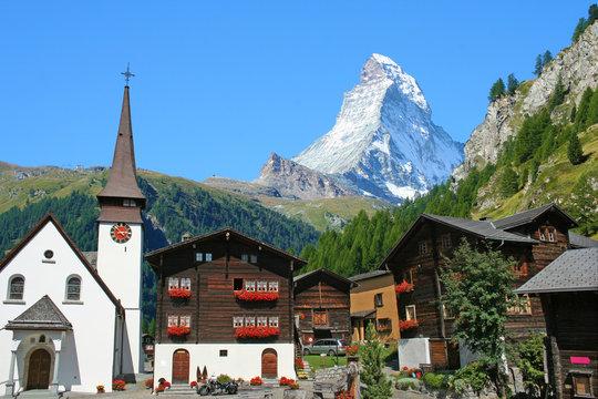 Beautiful view of old village with Matterhorn peak background in Zermatt, Switzerland