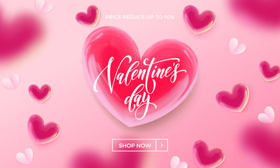 Valentines day sale shopping banner or poster design template of red valentine hearts pattern on pink background. Vector Valentines day store promo or shop discount offer flyer