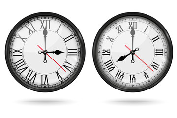 Retro clock with roman numerals and vintage hour and minute hand. Collection