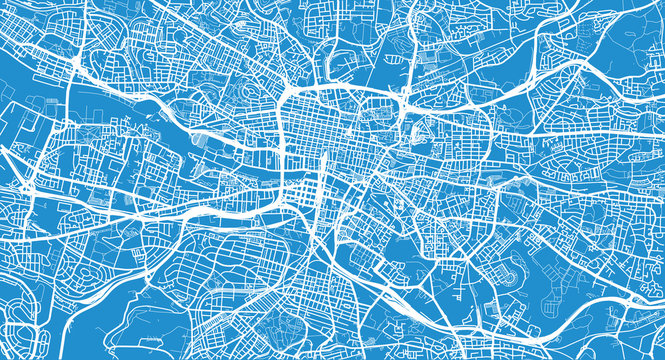 Urban vector city map of Glasgow, Scotland