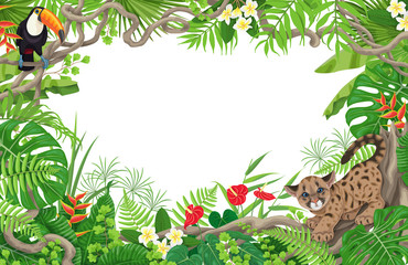 Tropical Frame with Cougar Cub and Toucan