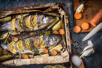 Salmon and ingredients for cooking and seasoning
