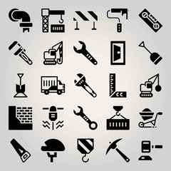Construction vector icon set. paint roller, saw, truck and demolition