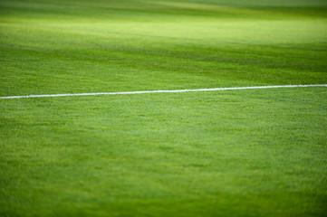 Fußballspielfeld mit weisser Kreidelinie