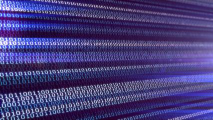 3D illustration. Blue bytes of binary code , background code depth of field/Binary code background