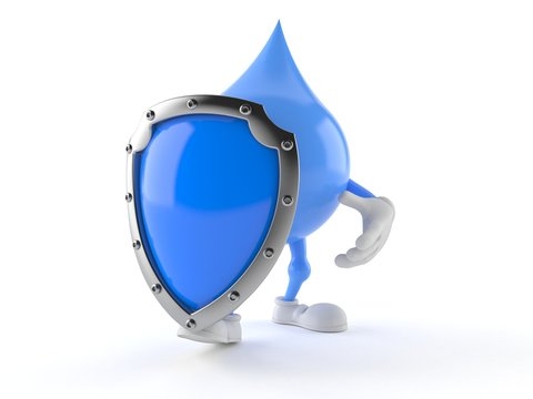 Water drop character with shield