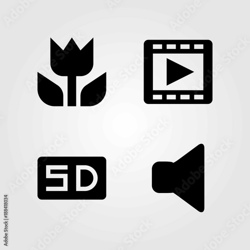 Multimedia vector icons set  sd card, macro and speaker