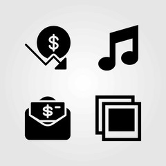 Buttons vector icons set. dollar, money and photo