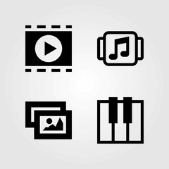 Multimedia vector icons set. movie player, keyboard and picture