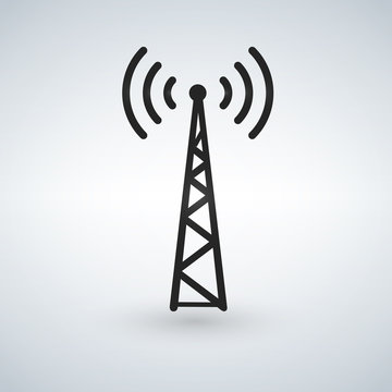 Cell Phone Tower, WIFI Antena black vector icon