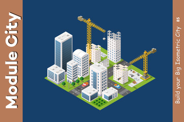 Module isometric city of houses