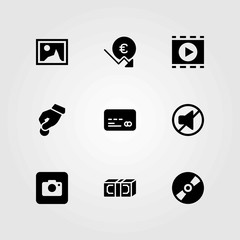 Buttons vector icons set. money, picture and donate
