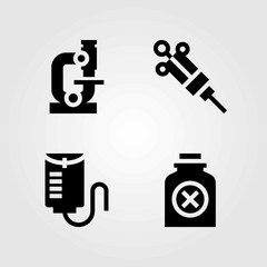 Medical vector icons set. drop counter, poison and bottle