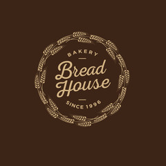 Bakery logo. Bread Shop emblem. Letters in a wreath of spikelet.