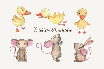 Hand-drawn watercolor Easter animals. Beautiful ducklings and the mice characters isolated on the white background