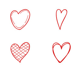 Cute hand drawn hearts - collection. Vector.