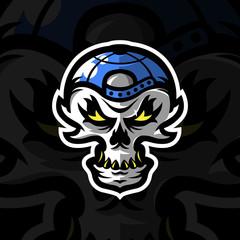 Skull mascot logo design for sports team. Vector illustration