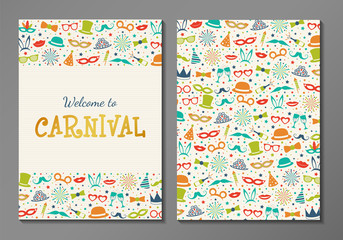 Design of card for Carnival Party - two sided invitation. Vector.