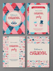 Carnival Party - set of multicolored templates of invitation. Vector.