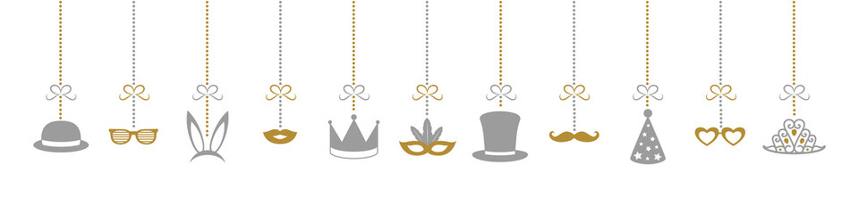 Hanging funny costumes for carnival, photobooth, party or birthday. Vector.