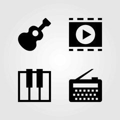 Multimedia vector icons set. radio, keyboard and movie player