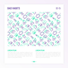 Bad habits concept with thin line icons set: abuse, alcoholism, cigarette, marijuana, drugs, fast food, poker, promiscuity, tv, video games. Modern vector iilustration for banner, print media.