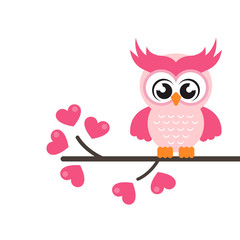 cartoon cute lovely owl on the branch