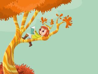 Cute cartoon girl reading book over a tree. Nature background.