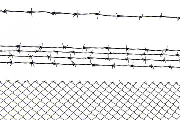 background of barbed wire on white